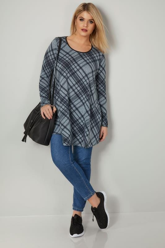 Blue Checked Swing Tunic Top