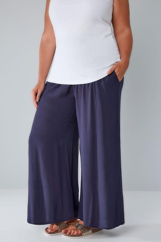 Plus Size Wide Leg & Palazzo Trousers Blue Crinkle Wide Leg Trousers With Ruched Elasticated Waist Panel