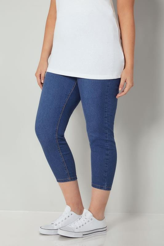Plus Size Cropped Jeans Blue Cropped JENNY Jeggings