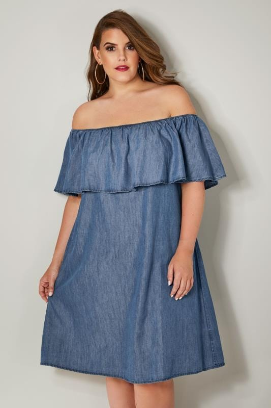 Robe Bardot Bleu Denim en Chambray