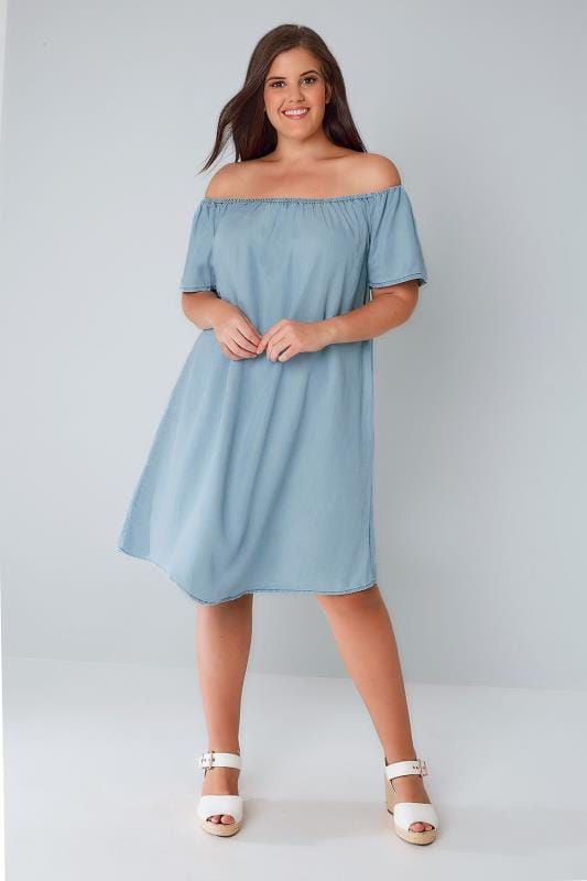 Blue Denim Chambray Bardot Swing Dress