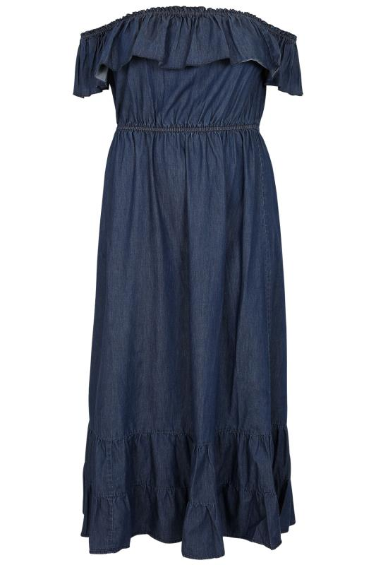 Robe Maxi 224 Volant En Chambray Bleu Denim