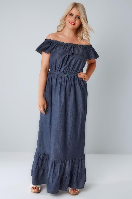 Maxi Dresses Blue Denim Chambray Frill Maxi Dress 136041