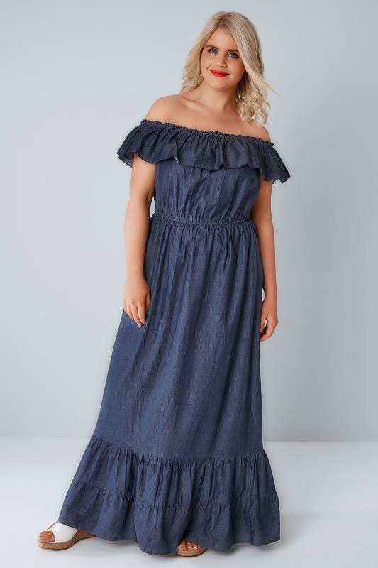 Blue Denim Chambray Frill Maxi Dress