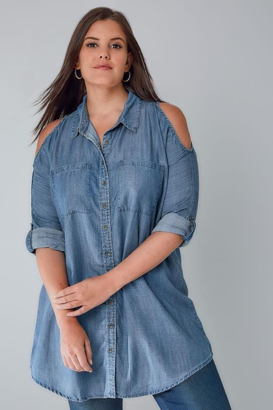 Blue Denim Cold Shoulder Chambray Shirt