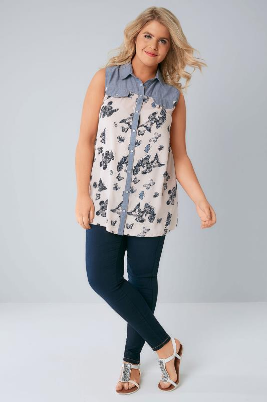Blue Denim & Cream Butterfly Print Sleeveless Shirt