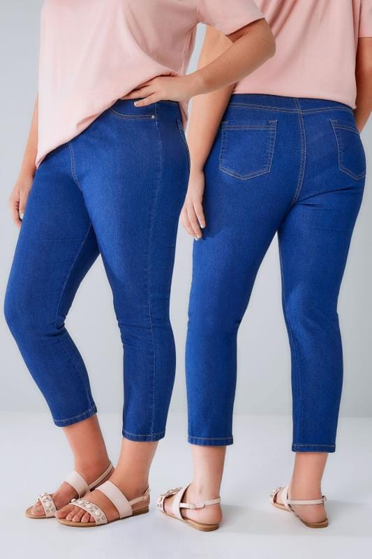 Cropped Jeans Blue Denim Cropped Jeggings With Star Details 144047