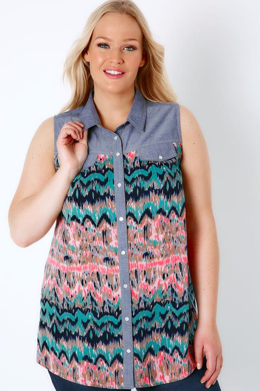 Blue Denim & Multi Sleeveless Shirt With Palm Print