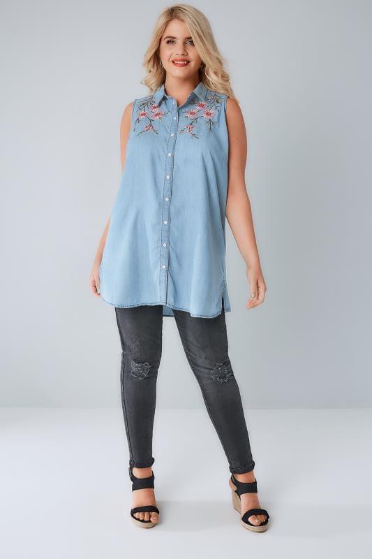 Blue Denim Sleeveless Shirt With Floral Embroidery