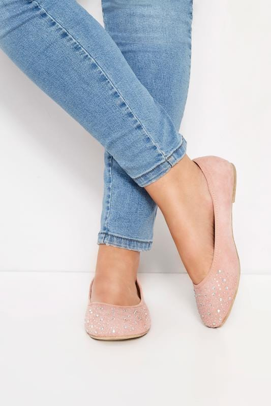 Plus Size Flats Pink Diamante Ballerina Pumps