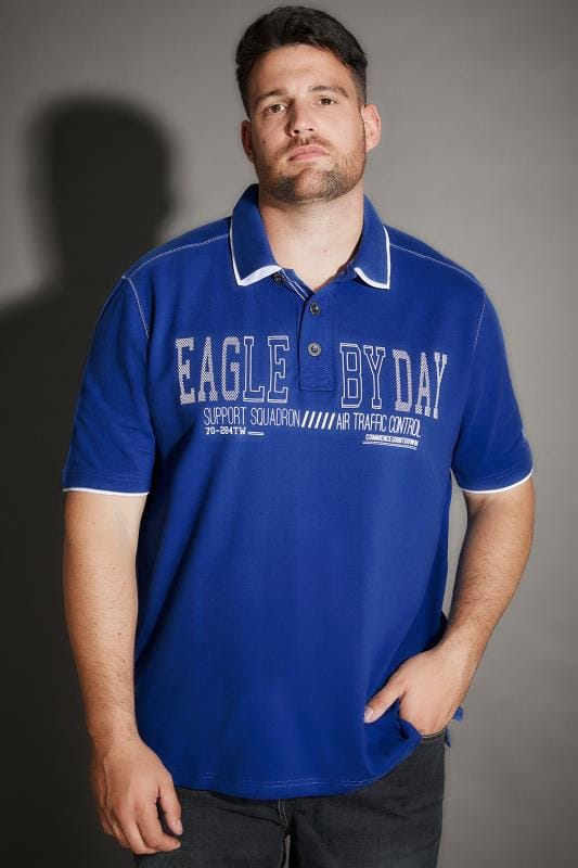 "Polo Shirts Blue ""Eagle By Day"" Polo Shirt With Double Collar 170291"