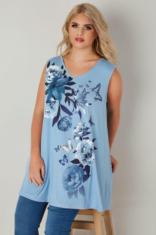 Blue Embellished Lily Floral Print Swing Top