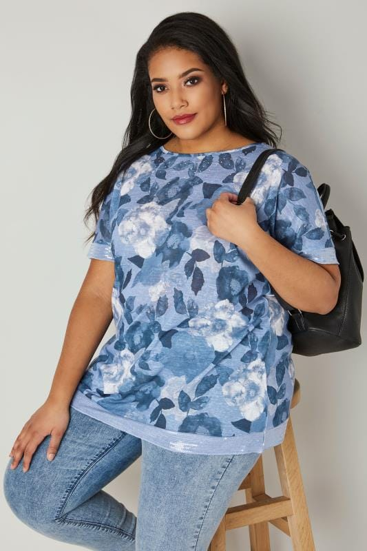 Plus Size Smart Jersey Tops Blue Embellished Watercolour Floral T-Shirt