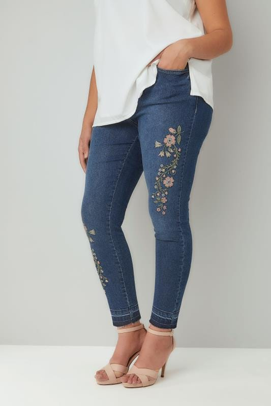 Blue Washed Denim Embroidered Skinny AVA Jeans