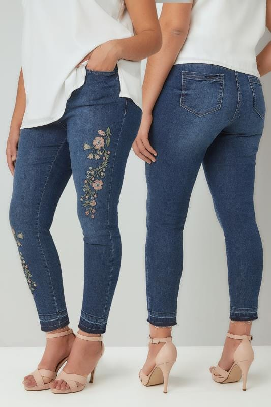 Skinny Jeans Blue Embroidered Washed Denim 5 Pocket Skinny Jeans With Raw Edge Cuffs 142091