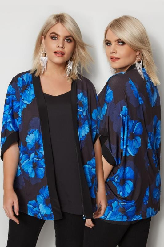 Plus Size Cover Ups Blue Floral Cover-Up