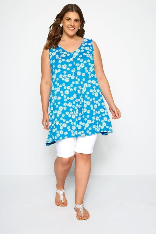 Blue Floral Daisy Swing Vest Top