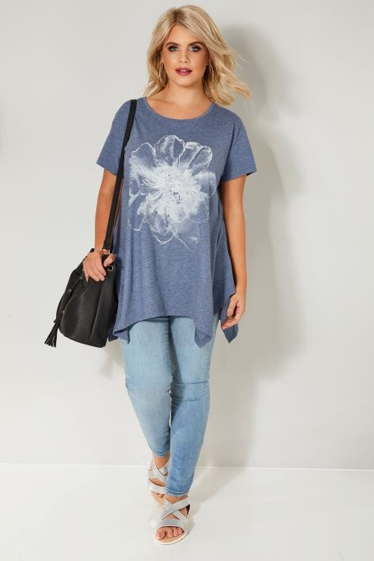 Blue Floral Diamante T-Shirt With Hanky Hem