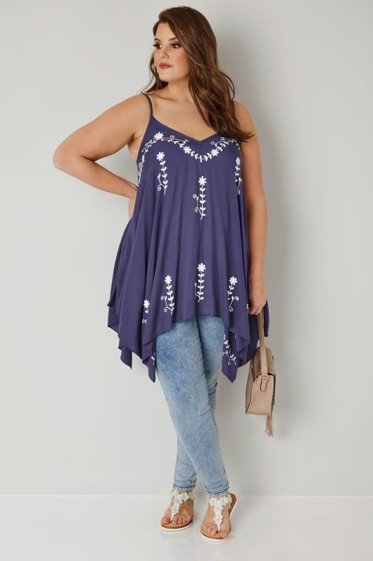 Blue Floral Embroidered Longline Top With Hanky Hem