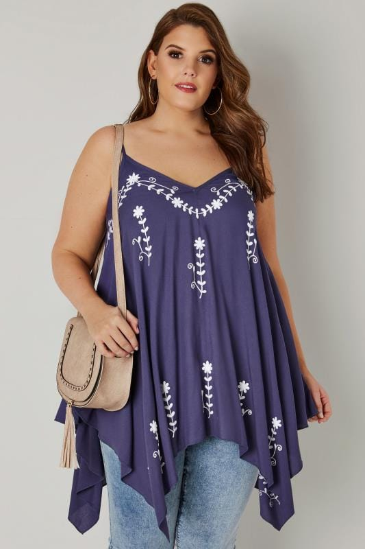 Plus Size Longline Tops Blue Floral Embroidered Longline Top