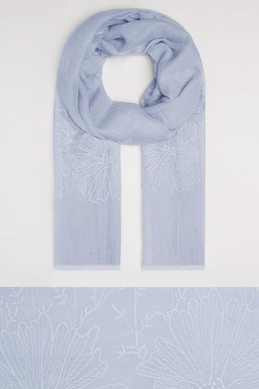 Blue Floral Embroidered Scarf