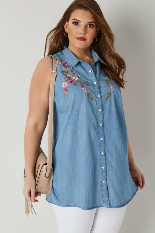 Blue Floral Embroidery Sleeveless Denim Shirt