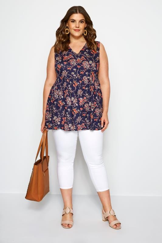 Navy Floral Smock Blouse