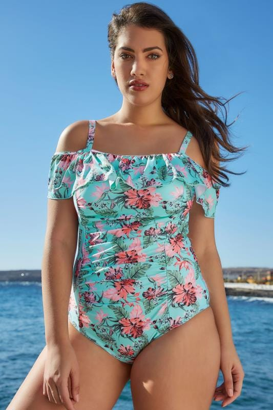 83c30398ced74 Plus Size Swimsuits Blue Floral Print Cold Shoulder Swimsuit With Frill  Detail