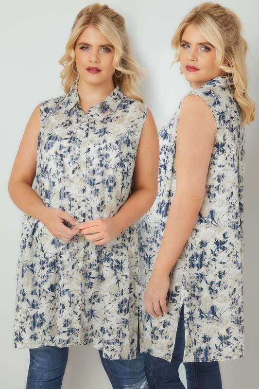 Blue Floral Print Sleeveless Shirt