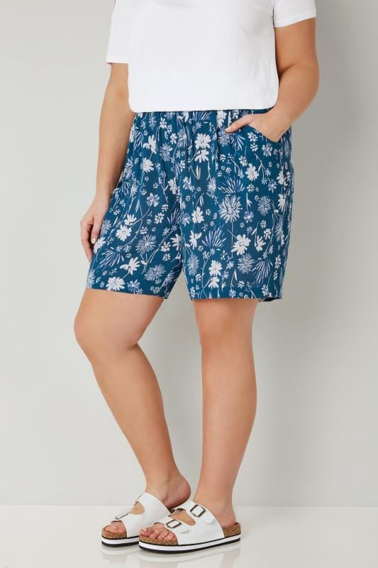 Plus Size Fashion Shorts Blue Floral Smock Shorts