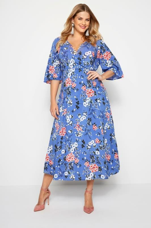 Plus Size Maxi Dresses Blue Floral Wrap Maxi Dress