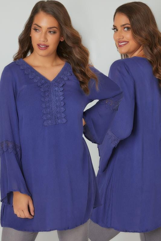 Blue Flute Sleeve Longline Blouse With Crochet Detail