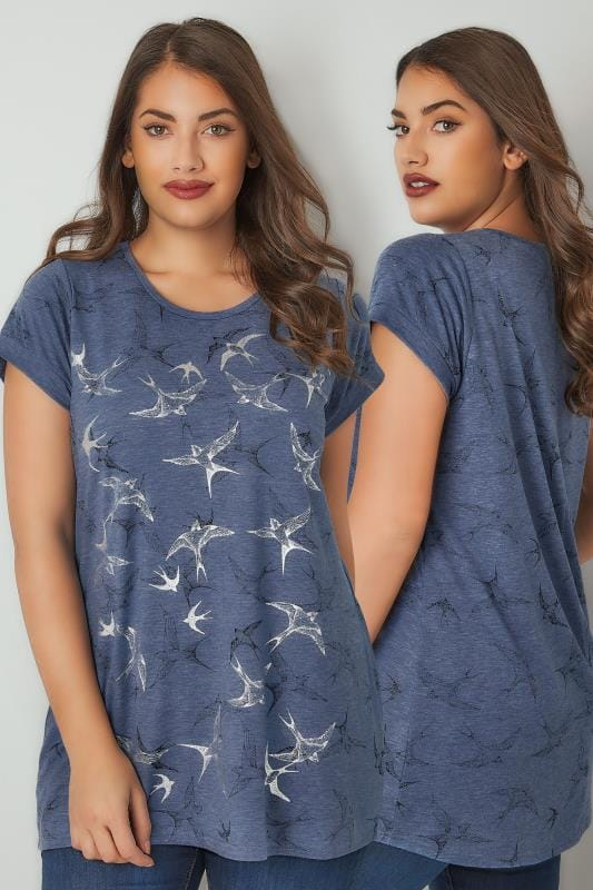 Blue Foil Bird Print T-Shirt