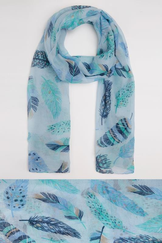Blue & Green Feather Print Scarf