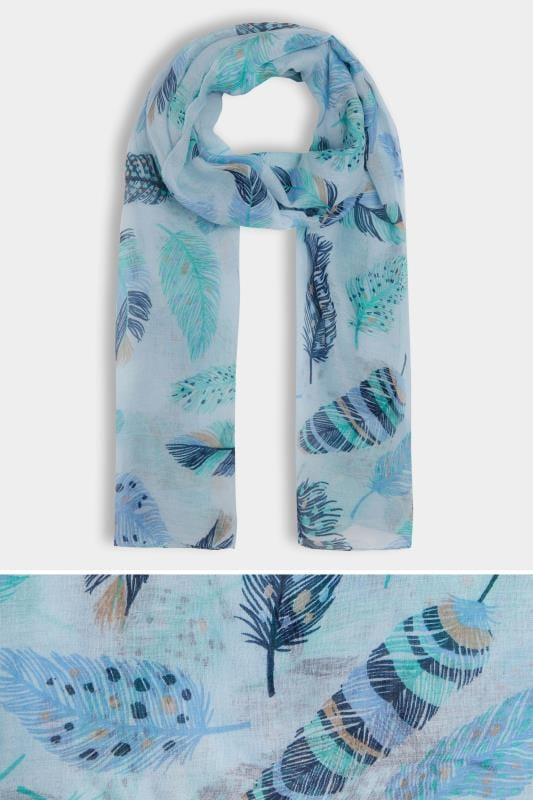Plus Size Scarves Blue & Green Feather Print Scarf