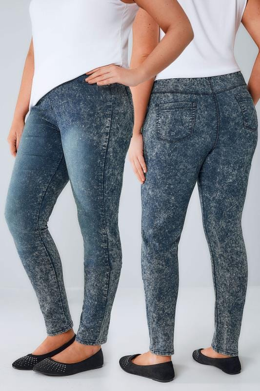 Blue Grunge Mottle Wash Pull On Stretch Jeggings