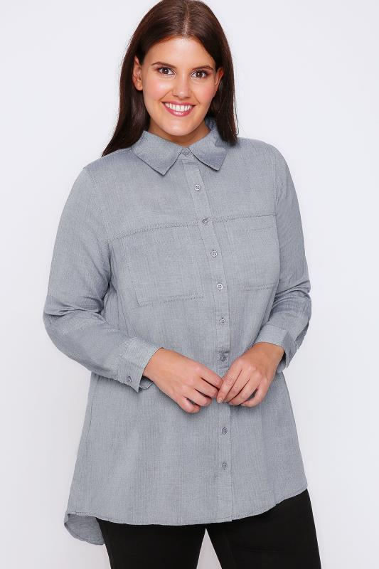 Blue Herringbone Cotton Boyfriend Button-Up Shirt With Dip Back