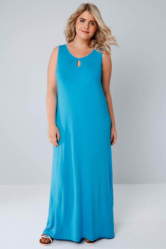 Blue Jersey Maxi Dress With Keyhole Detail