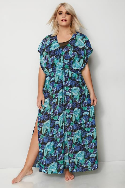 Plus Size Kaftans & Cover Ups Blue Jungle Leaf Maxi Cover-Up