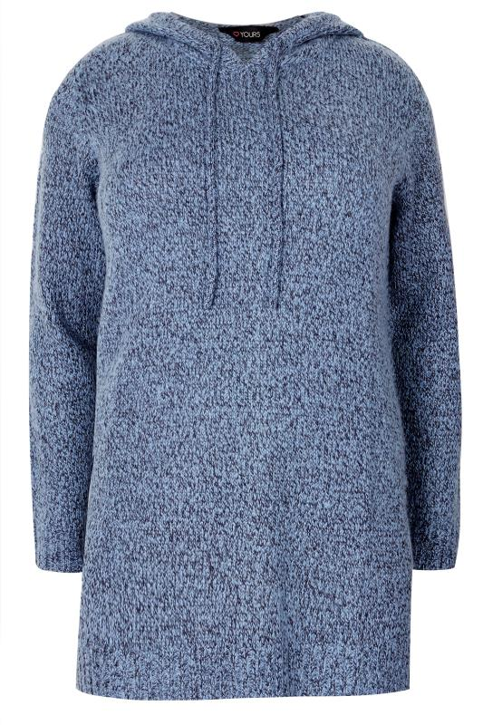 Plus Size Jumpers Blue Knitted Hoodie