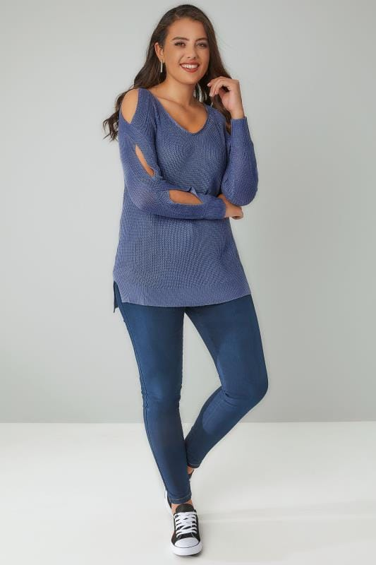 Blue Knitted Jumper With Cold Shoulders & Dipped Hem