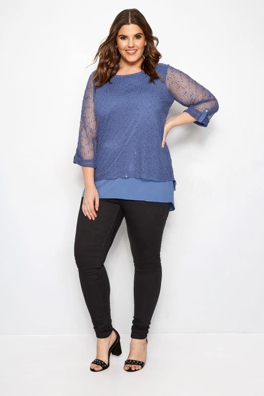 Top azul doble capa crochet