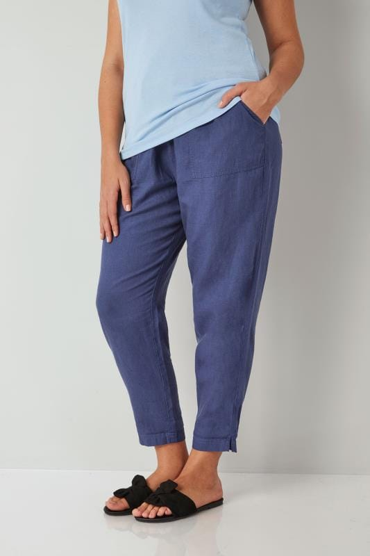 Plus Size Linen Mix Trousers Blue Linen Mix Pull On Tapered Trousers