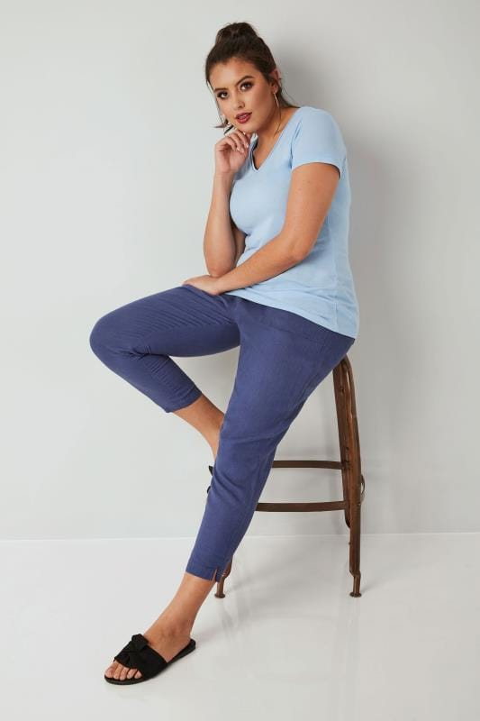 Blue Linen Mix Pull On Tapered Trousers