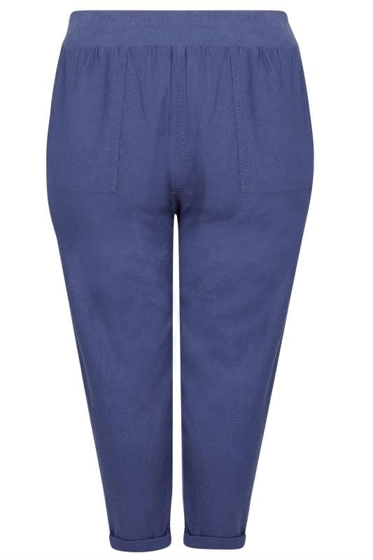 Grote maten linnen broeken Blue Linen Mix Pull On Tapered Trousers With Pockets 142175