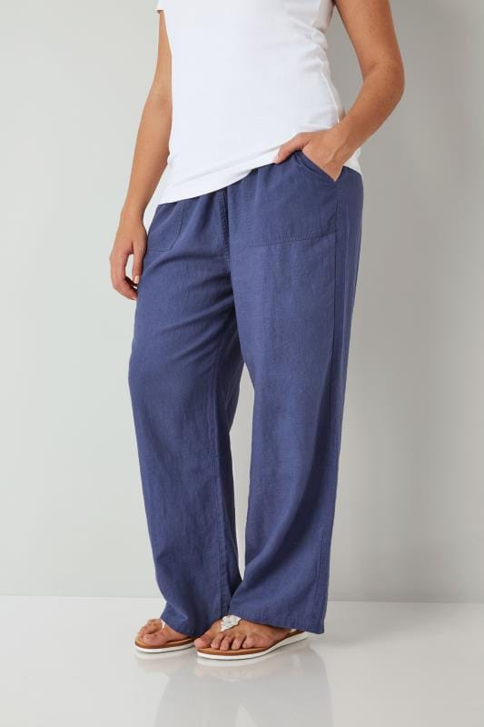 Plus Size Linen Mix Trousers Blue Linen Mix Pull On Wide Leg Trousers