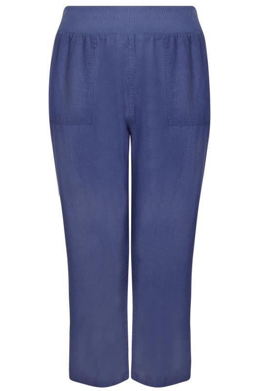 Grote maten linnen broeken Blue Linen Mix Pull On Wide Leg Trousers With Pockets 142171