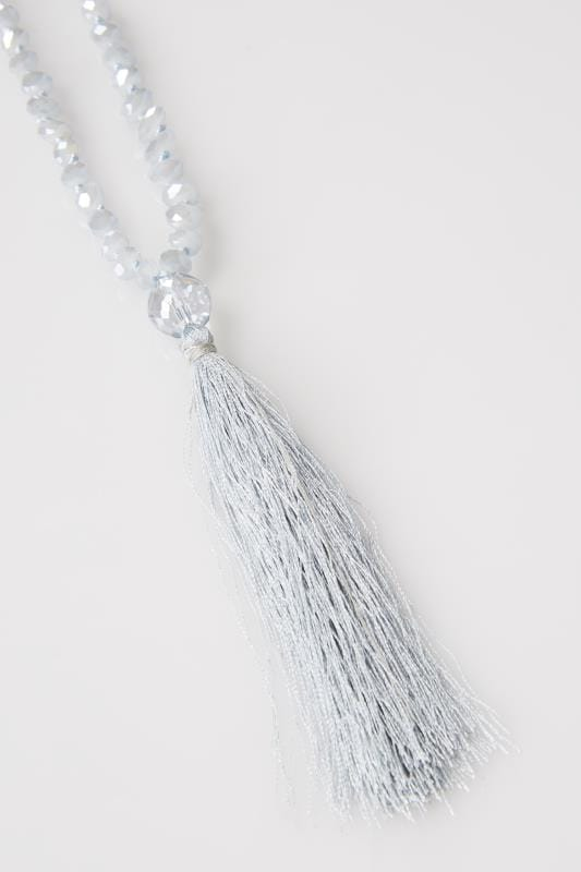 Blue Long Bead Necklace With Tassel