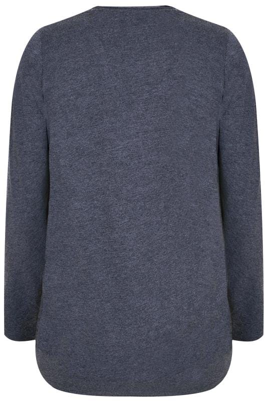 Dark Blue Long Sleeved V-Neck Jersey Top