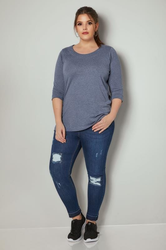 Blue Marl Band Scoop Neckline T-Shirt With 3/4 Sleeves